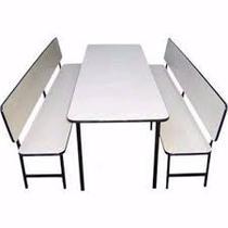 Conjunto de mesa + 2 Bancos com encosto para refeitório infantil (formica) - Max