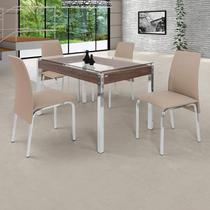 Conjunto de Mesa 4 Cadeiras Barcelona Ciplafe Cromado/Bege -
