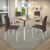 Conjunto de Mesa 4 Cadeiras Barcelona Ciplafe Cromado/Marrom -