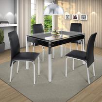 Conjunto de Mesa 4 Cadeiras Barcelona Ciplafe Cromado/Preto -