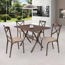 Conjunto de Mesa 4 Cadeiras Karina Ciplafe Bronze/Linho Bege -