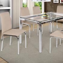 Conjunto de Mesa 6 Cadeiras Barcelona Ciplafe Bege -