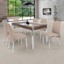 Conjunto de Mesa 6 Cadeiras Barcelona Ciplafe Cromado/Bege -
