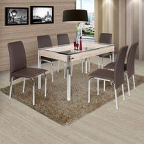 Conjunto de Mesa 6 Cadeiras Barcelona Ciplafe Cromado/Marrom -