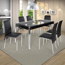 Conjunto de Mesa 6 Cadeiras Barcelona Ciplafe Cromado/Preto -