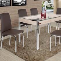 Conjunto de Mesa 6 Cadeiras Barcelona Ciplafe Marrom -