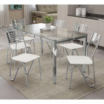 Conjunto De Mesa 6 Cadeiras Crome CMC042CR-106 Branco -