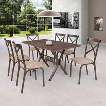 Conjunto de Mesa 6 Cadeiras Karina Ciplafe Bronze/Linho Bege -