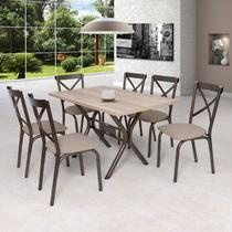 Conjunto de Mesa 6 Cadeiras Karina Ciplafe Linho Bege -