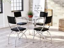 Conjunto de Mesa Aço Cromado com 4 Cadeiras - Estofadas Brigatto Olinda