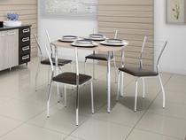 Conjunto de Mesa Aço Cromado com 4 Cadeiras - Estofadas Móveis Carraro Soneto
