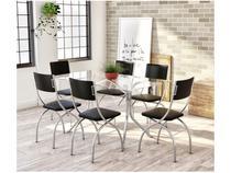 Conjunto de Mesa Aço Cromado com 6 Cadeiras - Estofadas Brigatto Olinda
