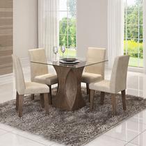 Conjunto de Mesa Andreia 100cm com 4 Cadeiras Milena Cimol Marrocos/Suede Bege - Cimol moveis