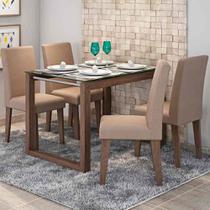 Conjunto de Mesa Anita 120cm com 4 Cadeiras Milena Cimol Marrocos/Pluma - Cimol moveis