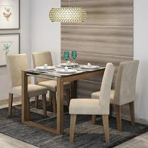 Conjunto de Mesa Anita 120cm com 4 Cadeiras Milena Cimol Savana/Suede Bege - Cimol moveis