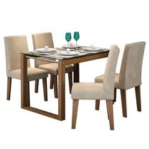 Conjunto de Mesa Anita para Sala de Jantar com e 4 Cadeiras Milena -Cimol -