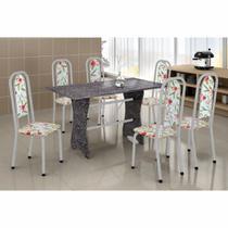 Conjunto de Mesa Base Mármore Lavínea Tampo de Mármore 6 Cadeiras Soma Perola Cestaplus -