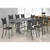 Conjunto de Mesa Base Mármore Lavínea Tampo de Mármore 8 Cadeiras Soma Prata Cestaplus -