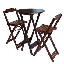 Conjunto De Mesa Bistrô De Madeira Com 2 Cadeiras Dobravel Ideal Para Bar E Restaurante Imbuia - Móveis Guará