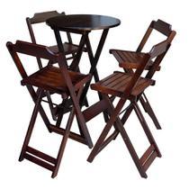 Conjunto De Mesa Bistrô De Madeira Com 4 Cadeiras Dobravel Ideal Para Bar E Restaurante Imbuia - Móveis Guará