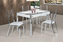Conjunto de Mesa Camila 1,20 com 4 Cadeiras Cromado e Branco - Ciplafe