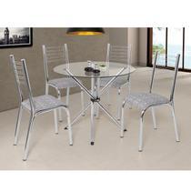 Conjunto de Mesa Camila Slim com 4 cadeiras tampo de vidro redondo Base e cadeiras Cromadas - Cinza/Cromado - Ciplafe