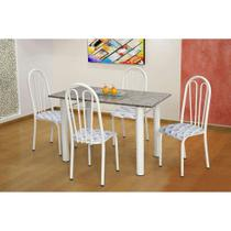 Conjunto de Mesa Carla com 4 Cadeiras Branca Capitonê - Artefamol