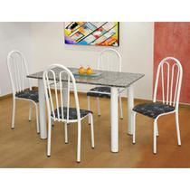 Conjunto de Mesa Carla com 4 Cadeiras Branca Preto Flor - Artefamol