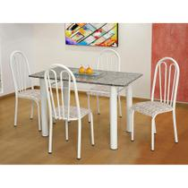 Conjunto de Mesa Carla com 4 Cadeiras Branca Rattan - Artefamol