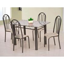 Conjunto de Mesa Carla com 4 Cadeiras Craqueado Preto Rattan - Artefamol
