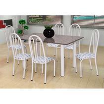 Conjunto de Mesa Carla com 6 Cadeiras Branca Capitonê - Artefamol