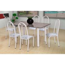 Conjunto de Mesa Carla com 6 Cadeiras Branca Linho - Artefamol