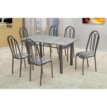 Conjunto de Mesa Carla com 6 Cadeiras Craqueado Preto Listrado - Artefamol