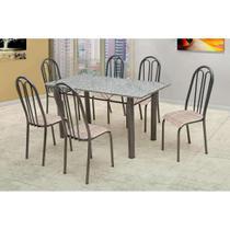 Conjunto de Mesa Carla com 6 Cadeiras Craqueado Preto Rattan - Artefamol