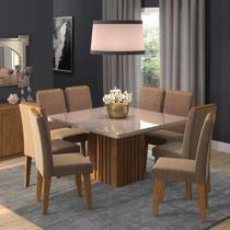 Conjunto de Mesa Cimol Ana 1.30x1.30cm com 8 cadeiras Tais / Pluma - Savana/Off White -