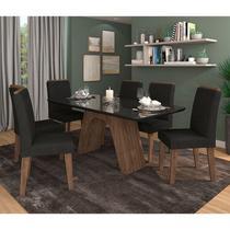 Conjunto de Mesa Clara para Sala de Jantar com 6 Cadeiras Taís Moldura -Cimol -