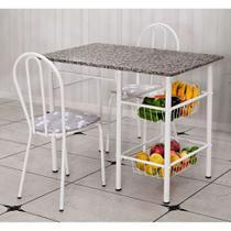 Conjunto de Mesa com 2 Cadeiras Alice Iguatemi Branco - Artefamol