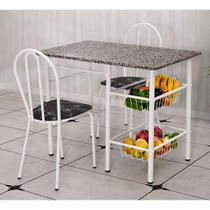 Conjunto de Mesa com 2 Cadeiras Alice Preto Flor - Artefamol