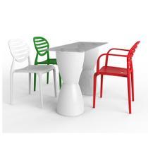 Conjunto de Mesa com 3 Cadeiras Work Station Branco - Im in
