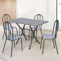 Conjunto de Mesa com 4 Cadeiras Bruna Craqueado Preto e Estampa Capitonê - Artefamol