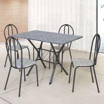 Conjunto de Mesa com 4 Cadeiras Bruna Craqueado Preto e Estampa Rattan - Artefamol