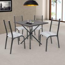 Conjunto de Mesa com 4 Cadeiras Camila Ciplafe Preto -