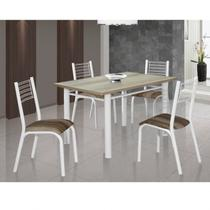 Conjunto de Mesa com 4 Cadeiras Camila Clássica Ciplafe Branco/Capuccino -
