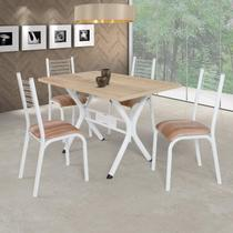 Conjunto de Mesa com 4 Cadeiras Camila Clássica Ciplafe Branco/Capucino -
