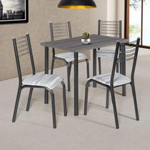 Conjunto de Mesa com 4 Cadeiras Camila Clássica Ciplafe Branco/Riscado Branco -