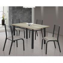 Conjunto de Mesa com 4 Cadeiras Camila Clássica Ciplafe Craqueado Preto/Junco Manteiga -