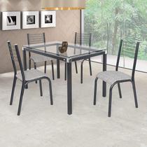 Conjunto de Mesa com 4 Cadeiras Camila Clássica Ciplafe Preto/Junco Manteiga -