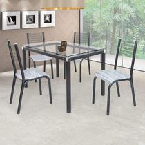 Conjunto de Mesa com 4 Cadeiras Camila Clássica Ciplafe Preto/Riscado Branco -
