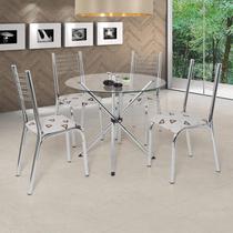 Conjunto de Mesa com 4 Cadeiras Camila Premium Ciplafe Cromado/Bege Geométrico -