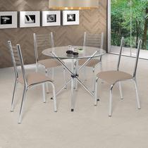 Conjunto de Mesa com 4 Cadeiras Camila Premium Ciplafe Cromado/Bege -